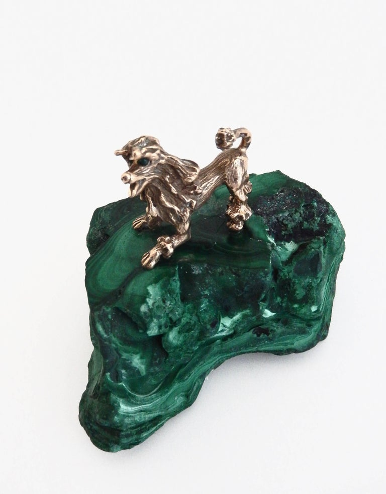 Early 20th Century Malachite and Gilt Bronze Miniature Animal Sculpture For Sale 1