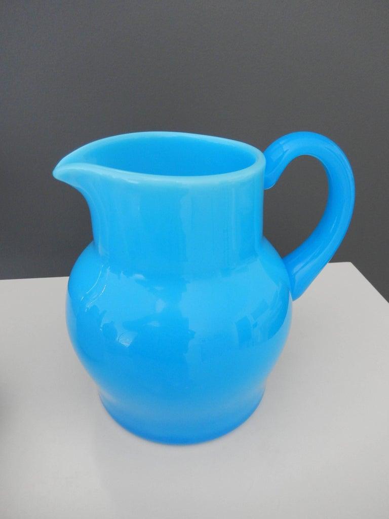 Mid-20th Century 1960s Modern Blue Glass Pitcher by Erik Hoglund For Sale