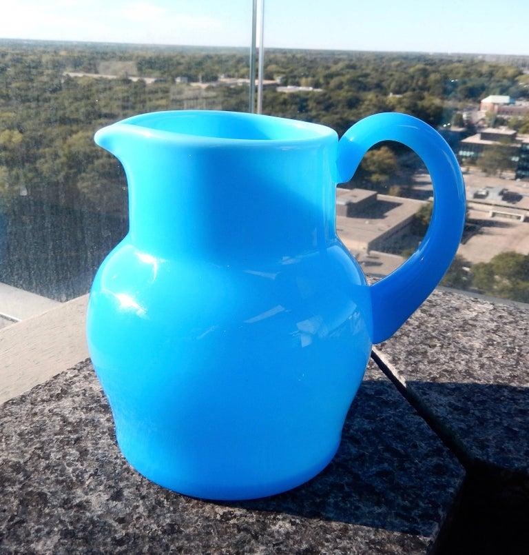 Swedish 1960s Modern Blue Glass Pitcher by Erik Hoglund For Sale