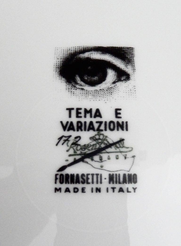 "Fornasetti ""Op Art"" Porcelain Plate, Tema & Variazioni #172 5"
