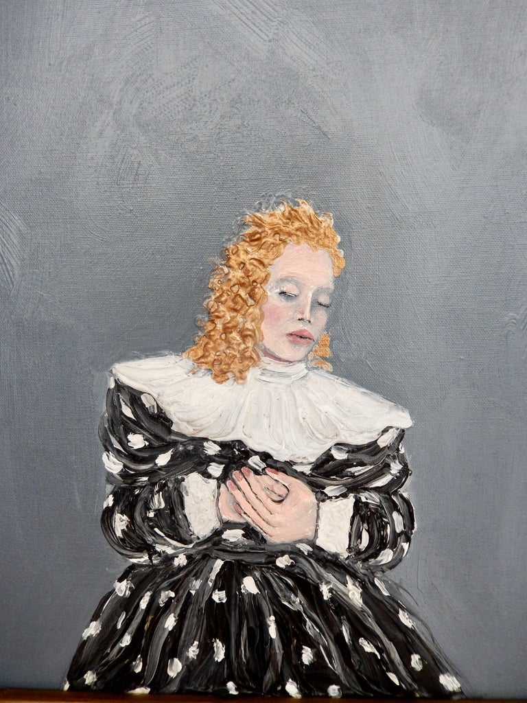 "An intimate oil painting by Nicholas Africano (B. 1948) from 1982 titled ""Minnie."" Minnie refers to a character in Puccini's opera, La Fanciulla del West (The Girl of the Golden West) who was the owner of a saloon with whom all the male"