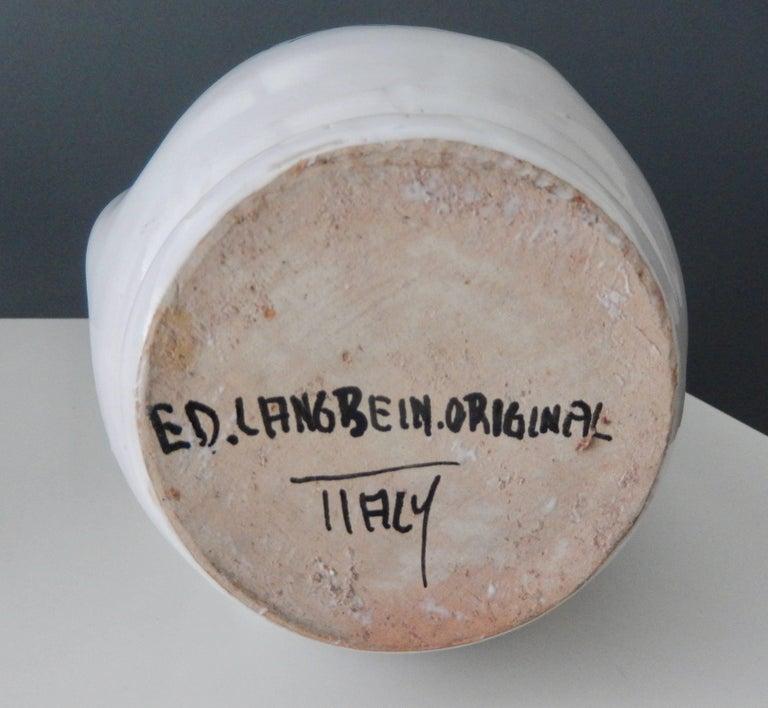 "Modern Ed Langbein Ceramic ""Tic-Tac Toe"" Vase, 1940s In Good Condition For Sale In Winnetka, IL"