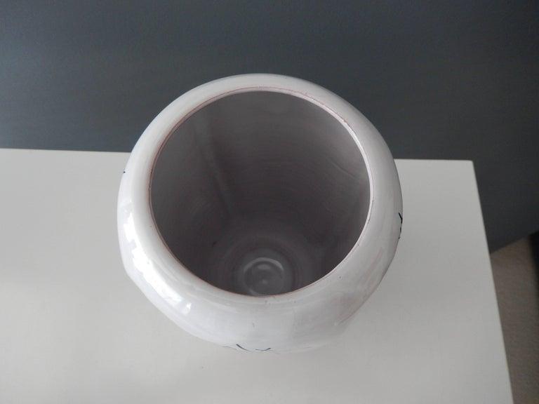 "Glazed Modern Ed Langbein Ceramic ""Tic-Tac Toe"" Vase, 1940s For Sale"