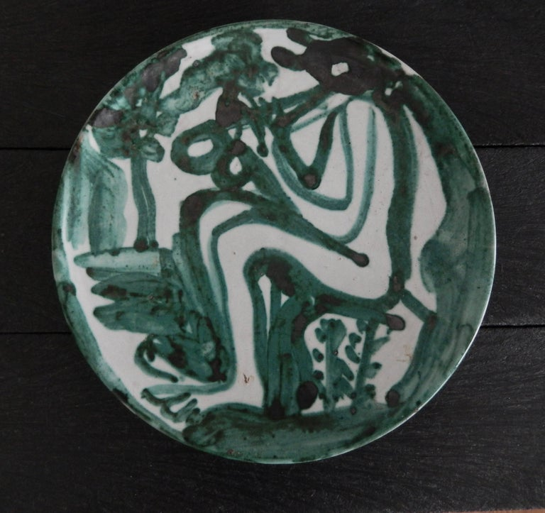 "Robert Picault  ""Flute Player"" Ceramic Plate, 1950 3"