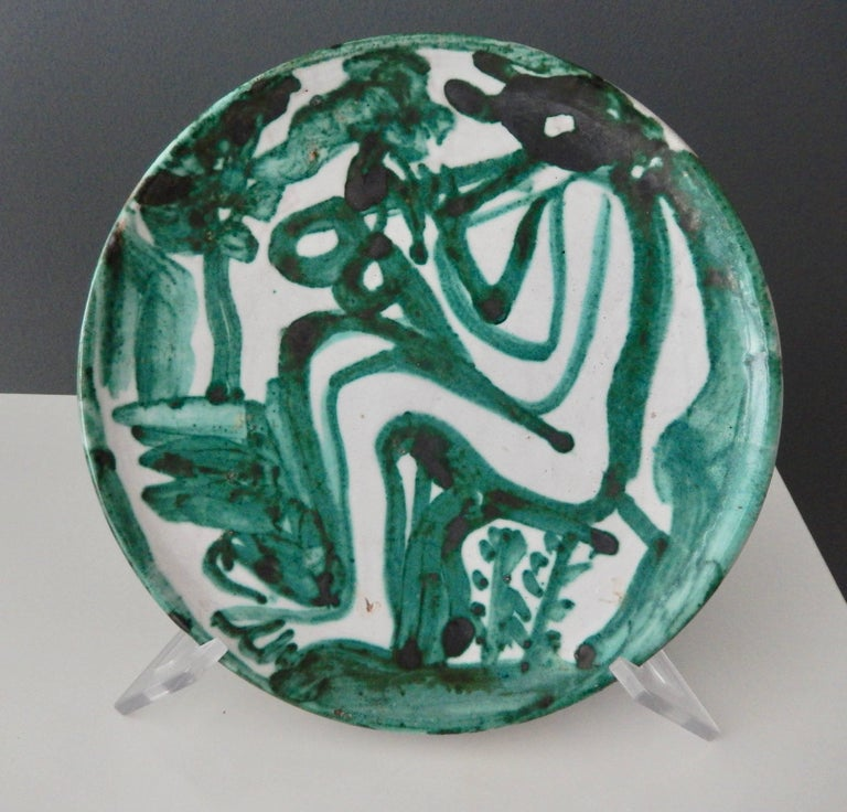 "Robert Picault  ""Flute Player"" Ceramic Plate, 1950 2"