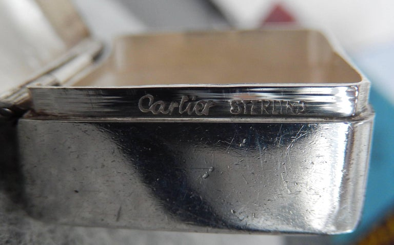 Italian 1970s Cartier Sterling Silver and Enamel Pillbox For Sale