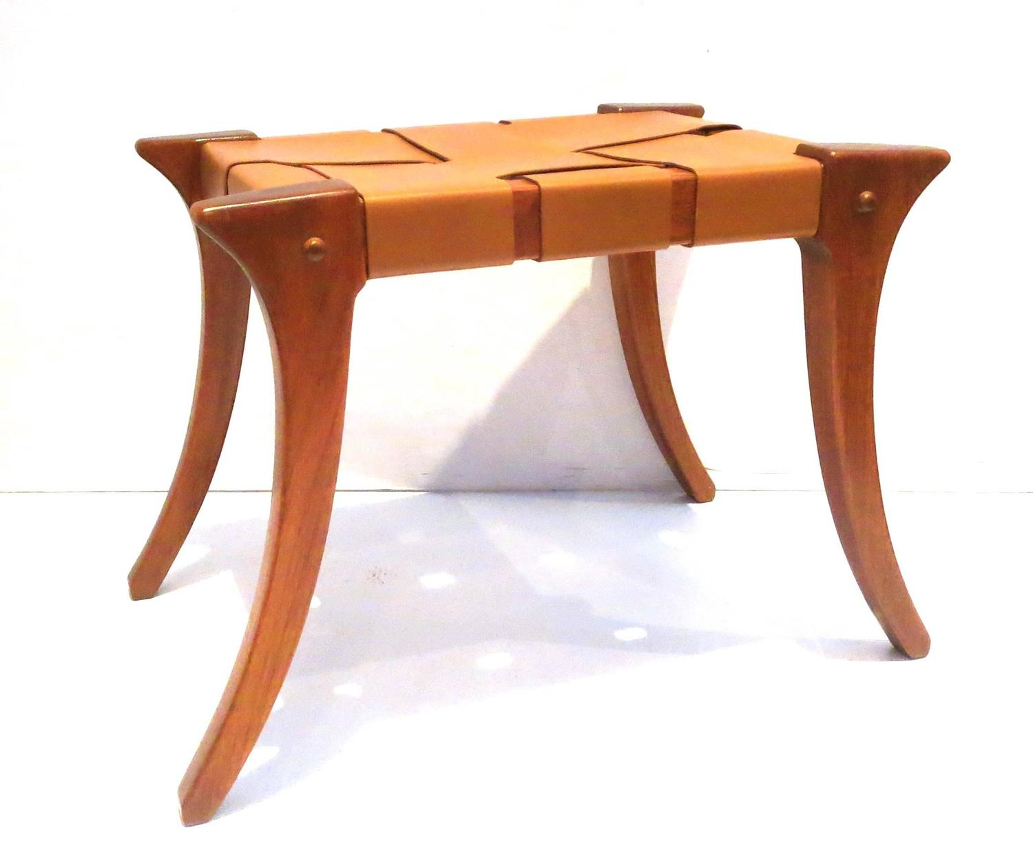 1970s Pair of Matching Klismos Style Benches in Leather