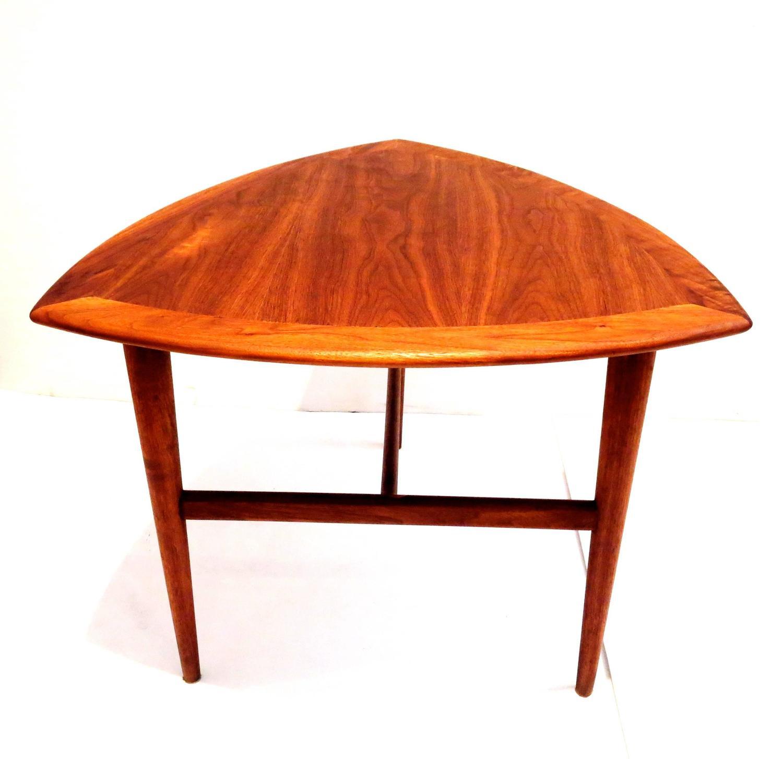 American Modern Walnut Tri Legged Mid Century Cocktail Table At 1stdibs