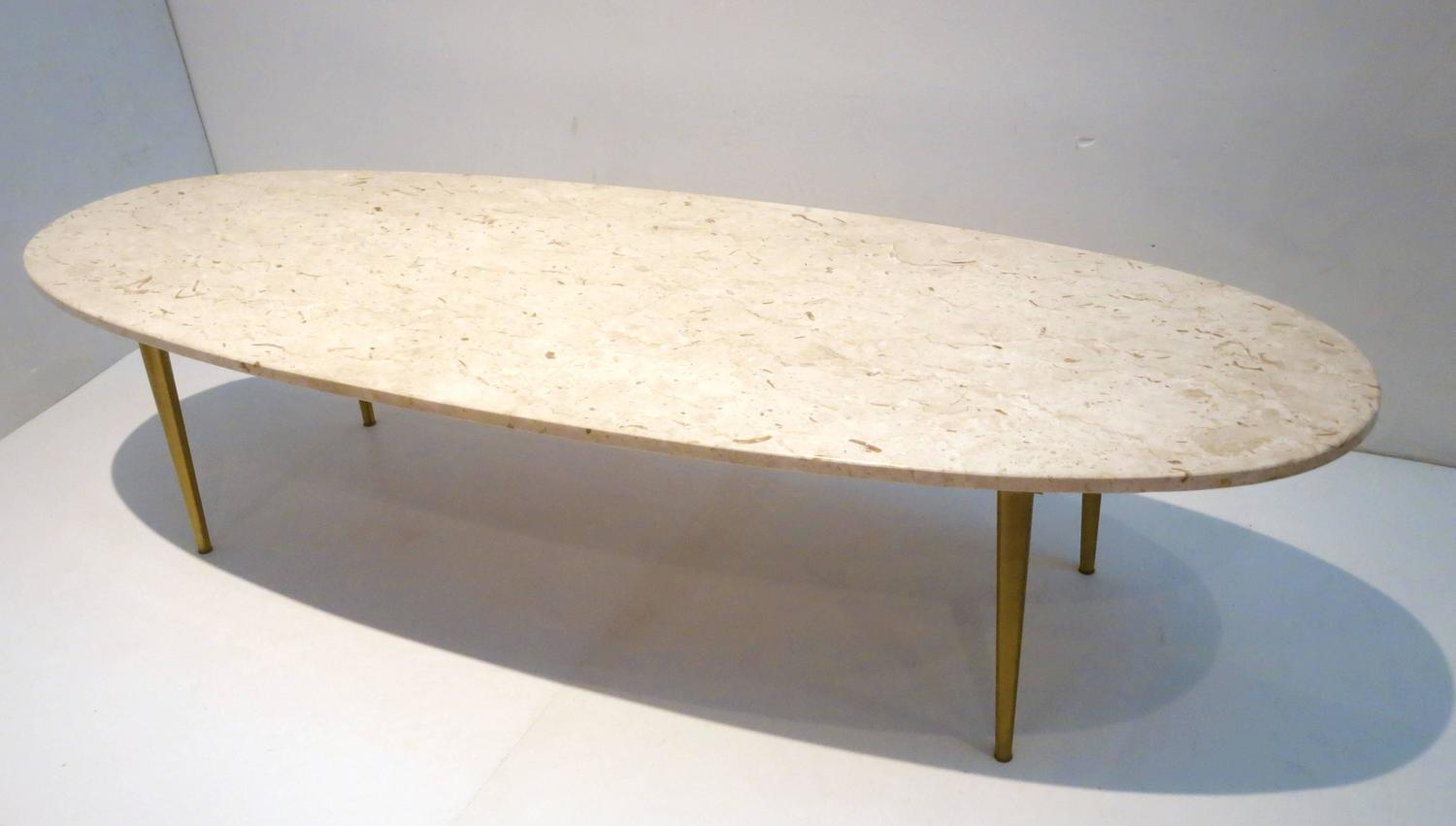 Mid century modern marble and brass large oval coffee for Contemporary oval coffee tables