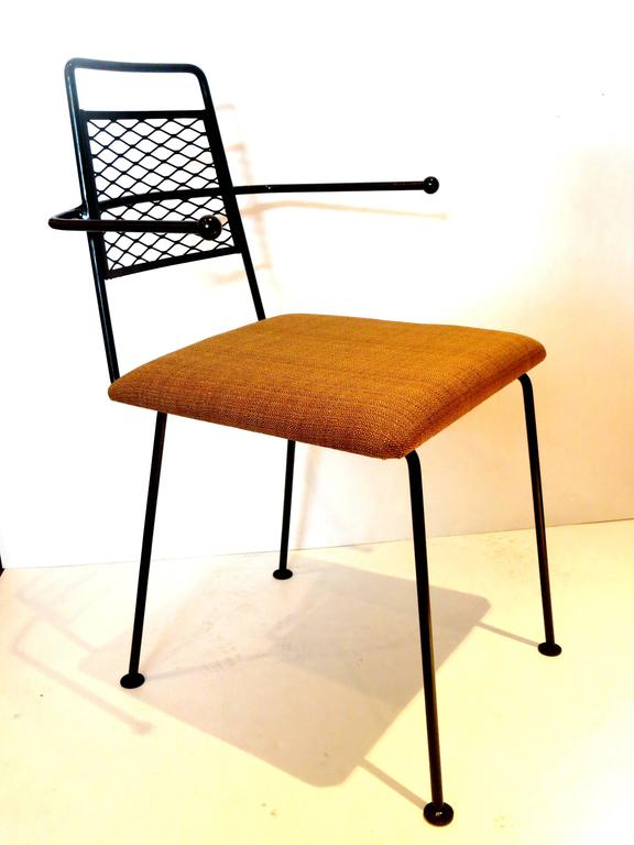 Nice Set Of Four Solid Wrought Iron, With Freshly Upholstered Seat Pads In  Brown Simple