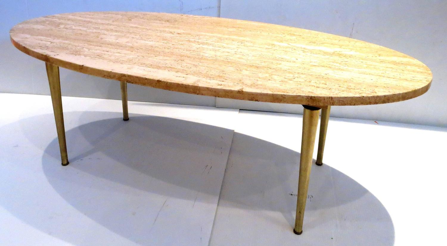 Mid Century Modern Marble And Brass Tapered Legs Oval Coffee Table At 1stdibs