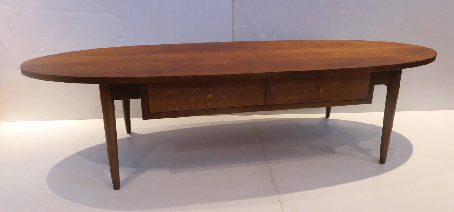 1950s Atomic Age American Walnut Oval Coffee Table With