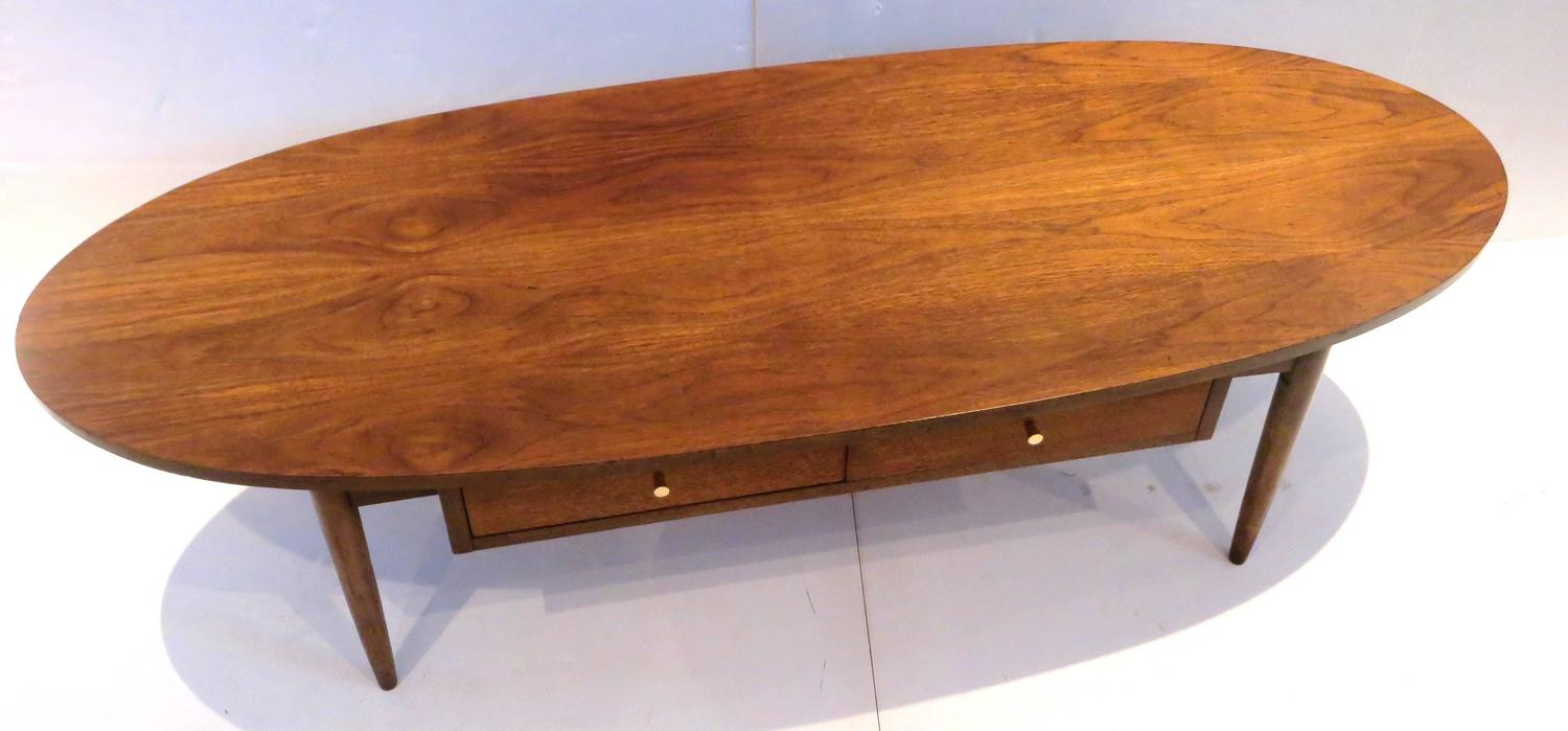 1950s Atomic Age American Walnut Oval Coffee Table With Brass Knobs At 1stdibs