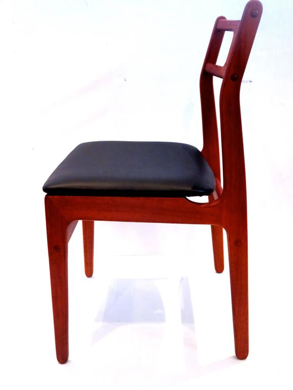 Sculpted rosewood danish dining chairs red modern furniture - Danish Modern Set Of Four Solid Teak Frames With Sculpted