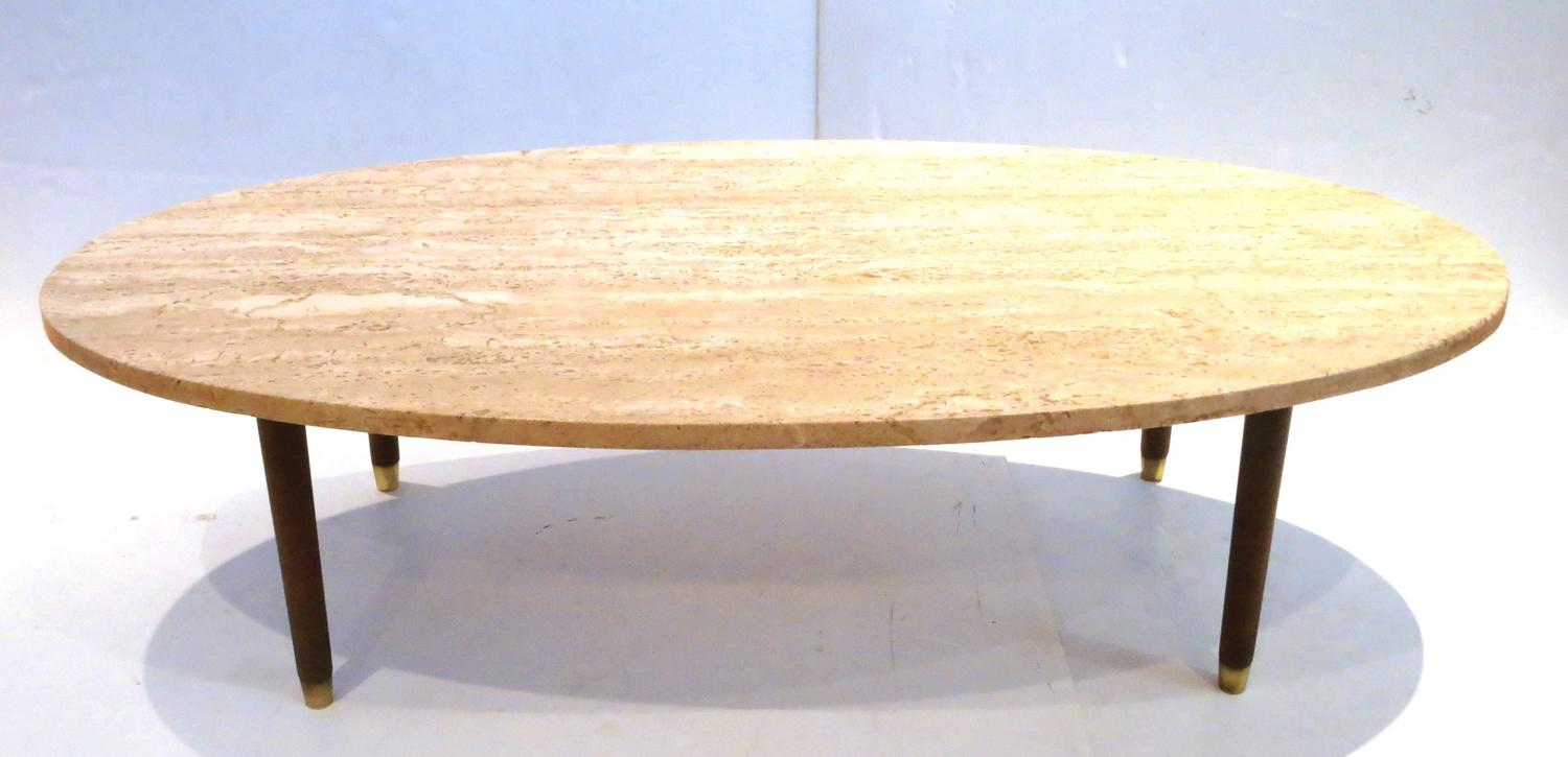 Mid-Century Modern Marble And Wood Tapered Legs Oval