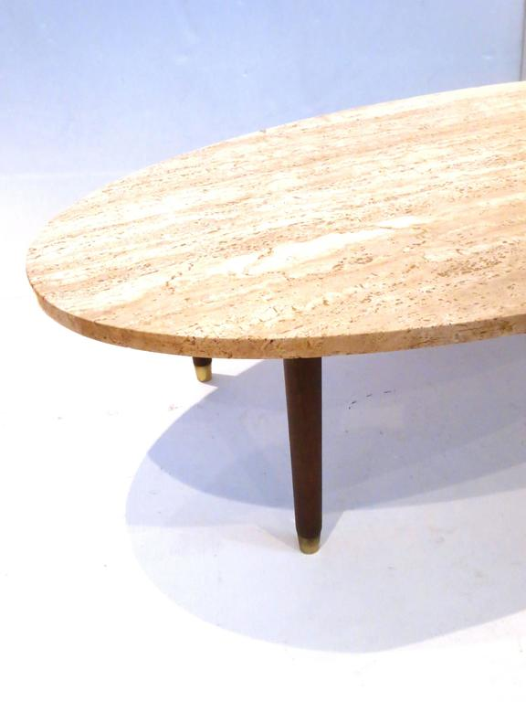 American Mid Century Modern Marble And Wood Tapered Legs Oval Coffee Table  For Sale