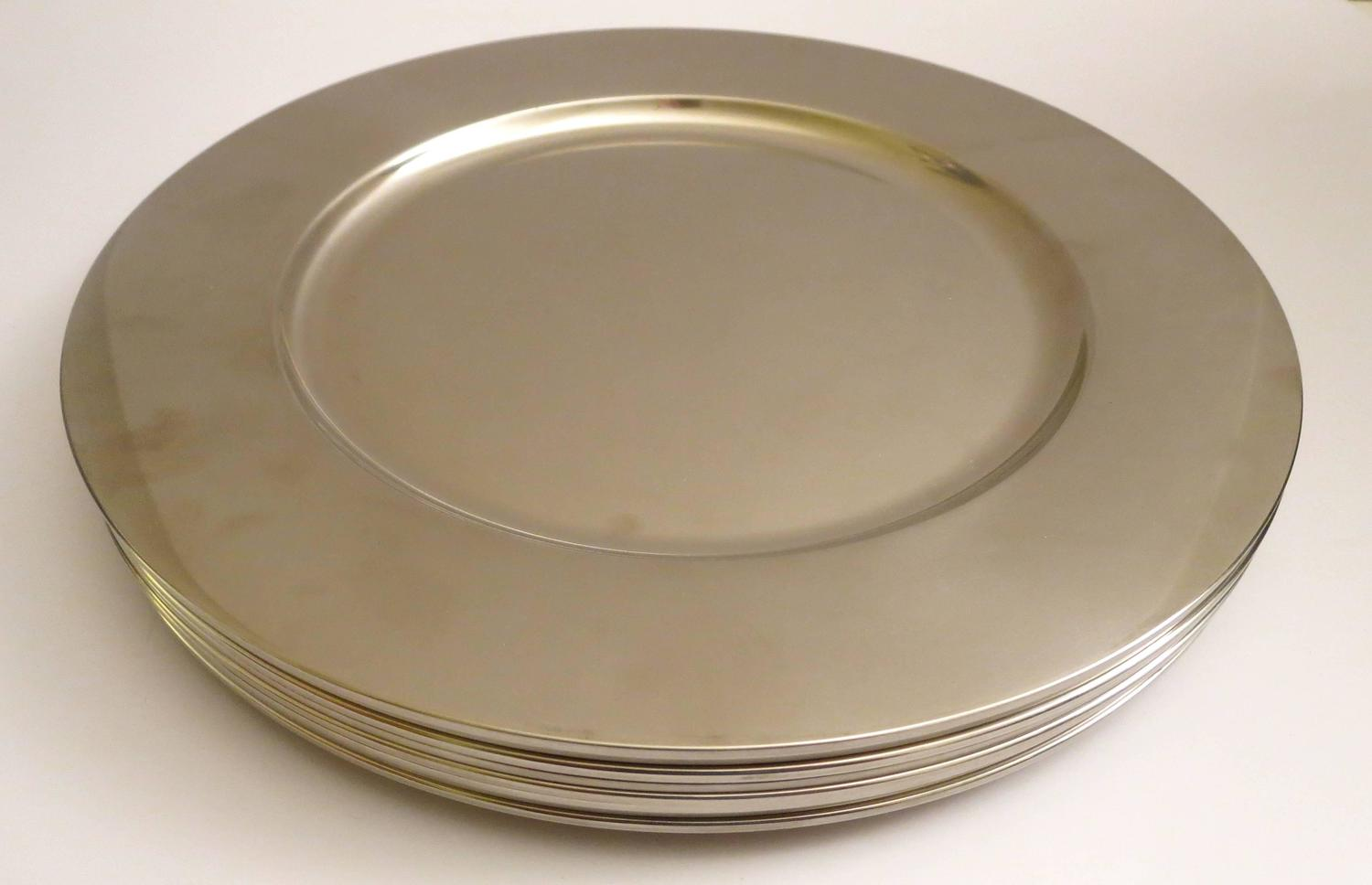 1970s Eight Charger Plates Set In Polished Stainless Steel Georg Jensen Denm