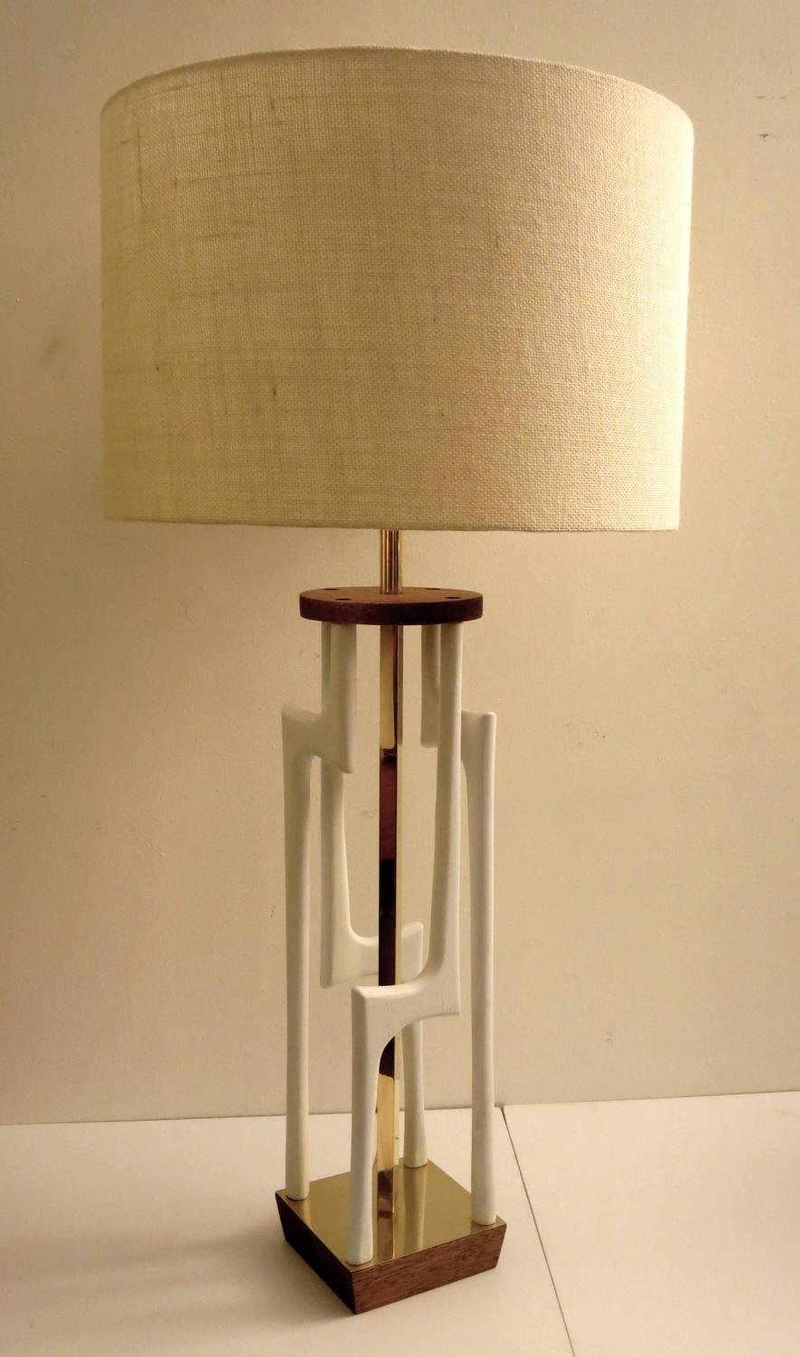 mid century tall sculpted free form wood with brass accents table lamp. Black Bedroom Furniture Sets. Home Design Ideas