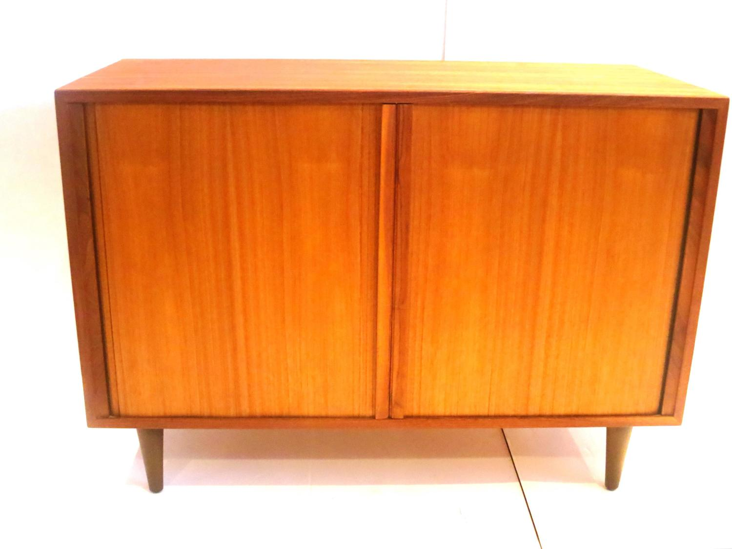 Modern Tambour Door Small Record Media Cabinet Credenza At 1stdibs