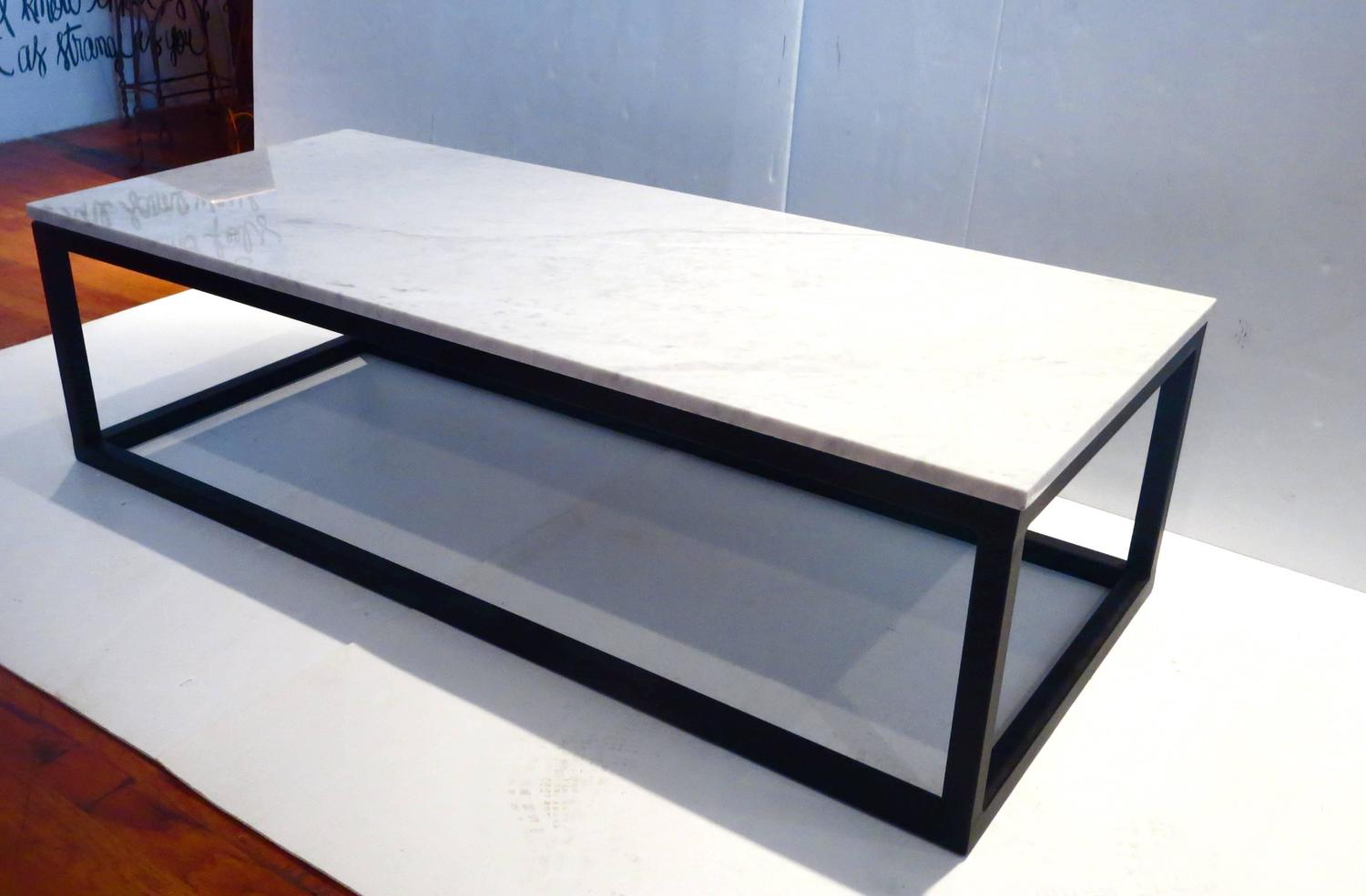 1970s rectangle coffee table marble and square tube metal for Marble top coffee table rectangle