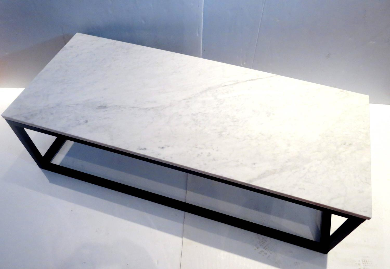 1970s Rectangle Coffee Table Marble And Square Tube Metal