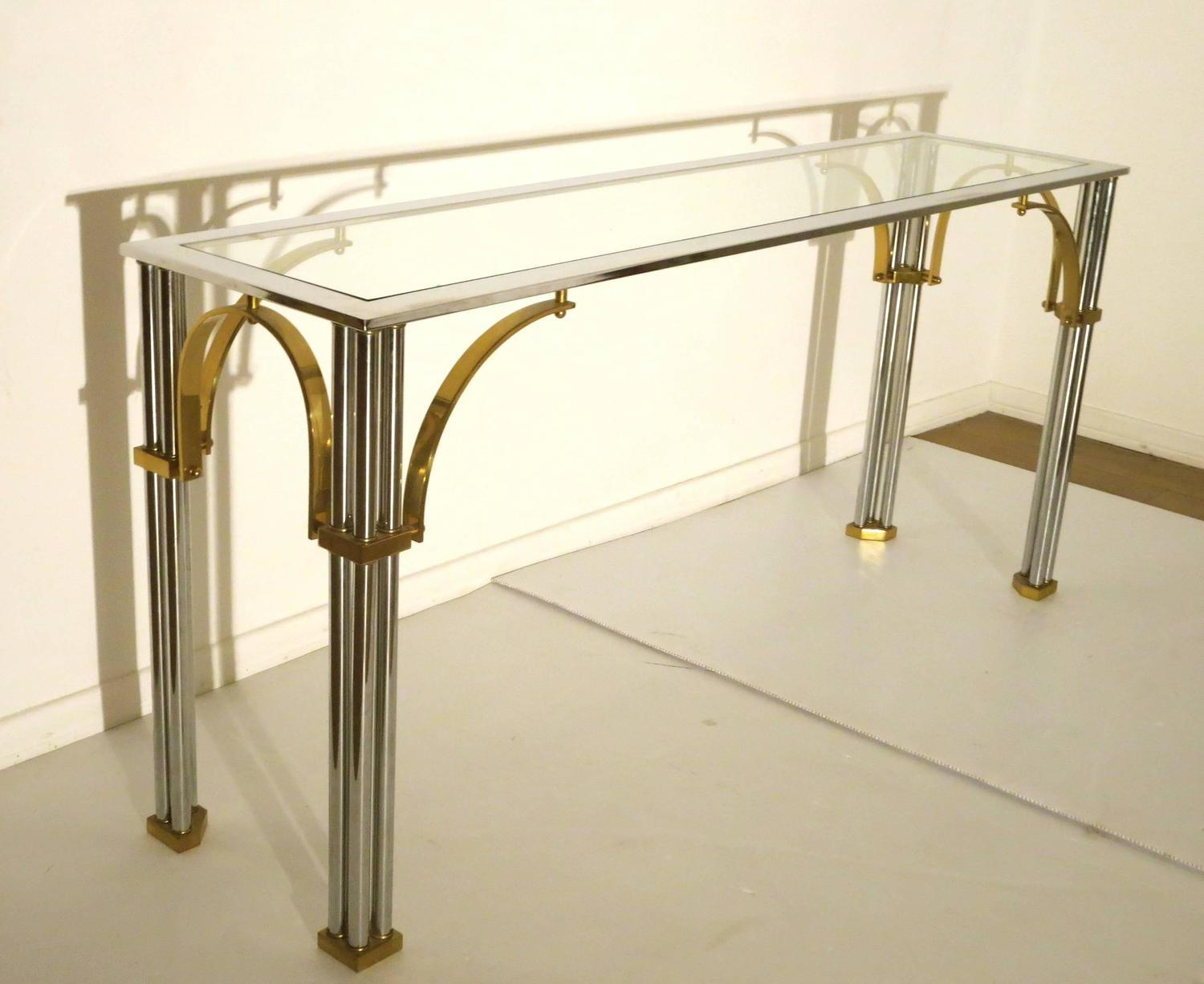 Striking Chrome And Brass With Glass Top Console Or Sofa