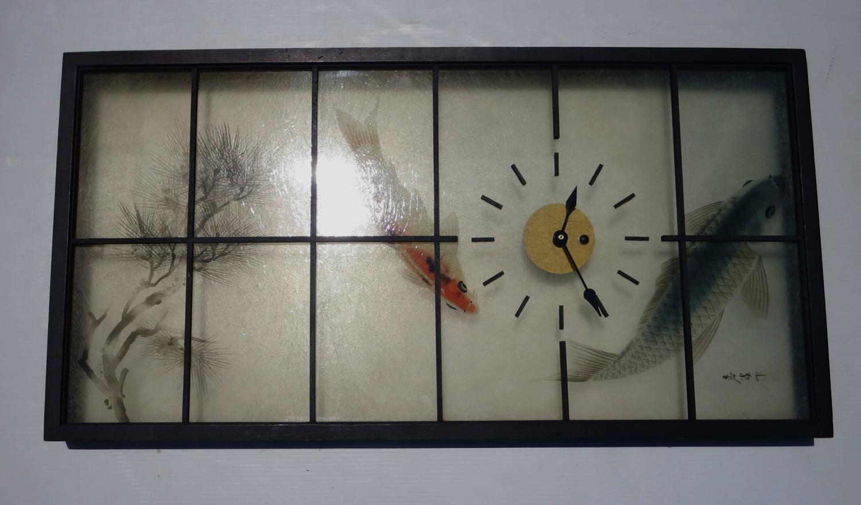 mid century asian modern large japanese wall panel clock
