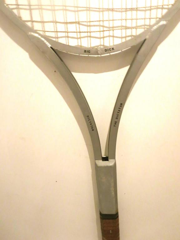 20th Century One of Kind Striking Rare Giant Big Tennis Racket in Aluminum and Leather For Sale