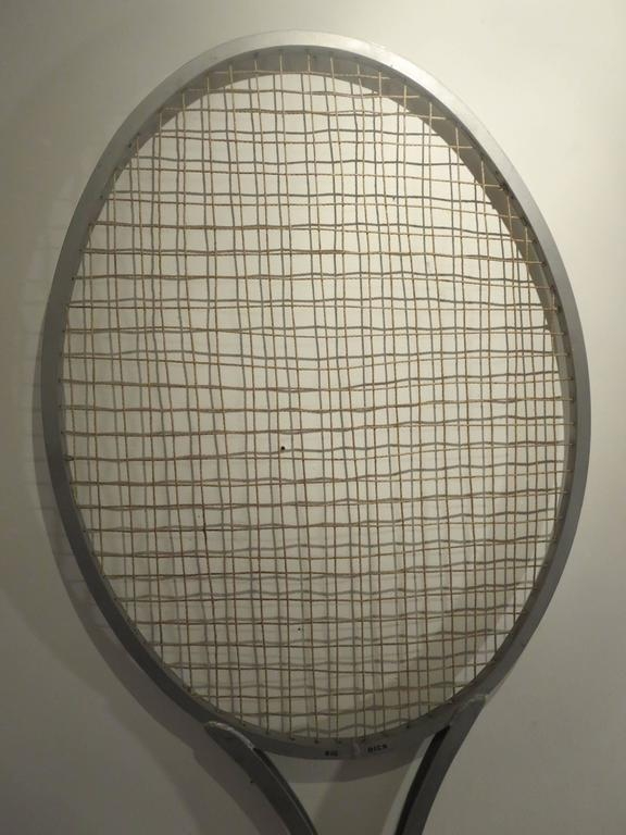 One of Kind Striking Rare Giant Big Tennis Racket in Aluminum and Leather For Sale 3