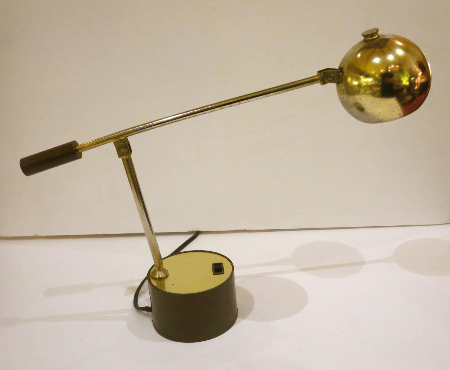 1960s American Modern Small Desk Table Lamp in Brass at ...