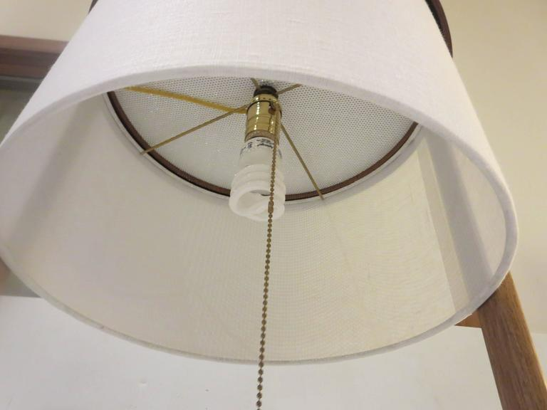1960s American Modern Table Floor Lamp In Walnut And White