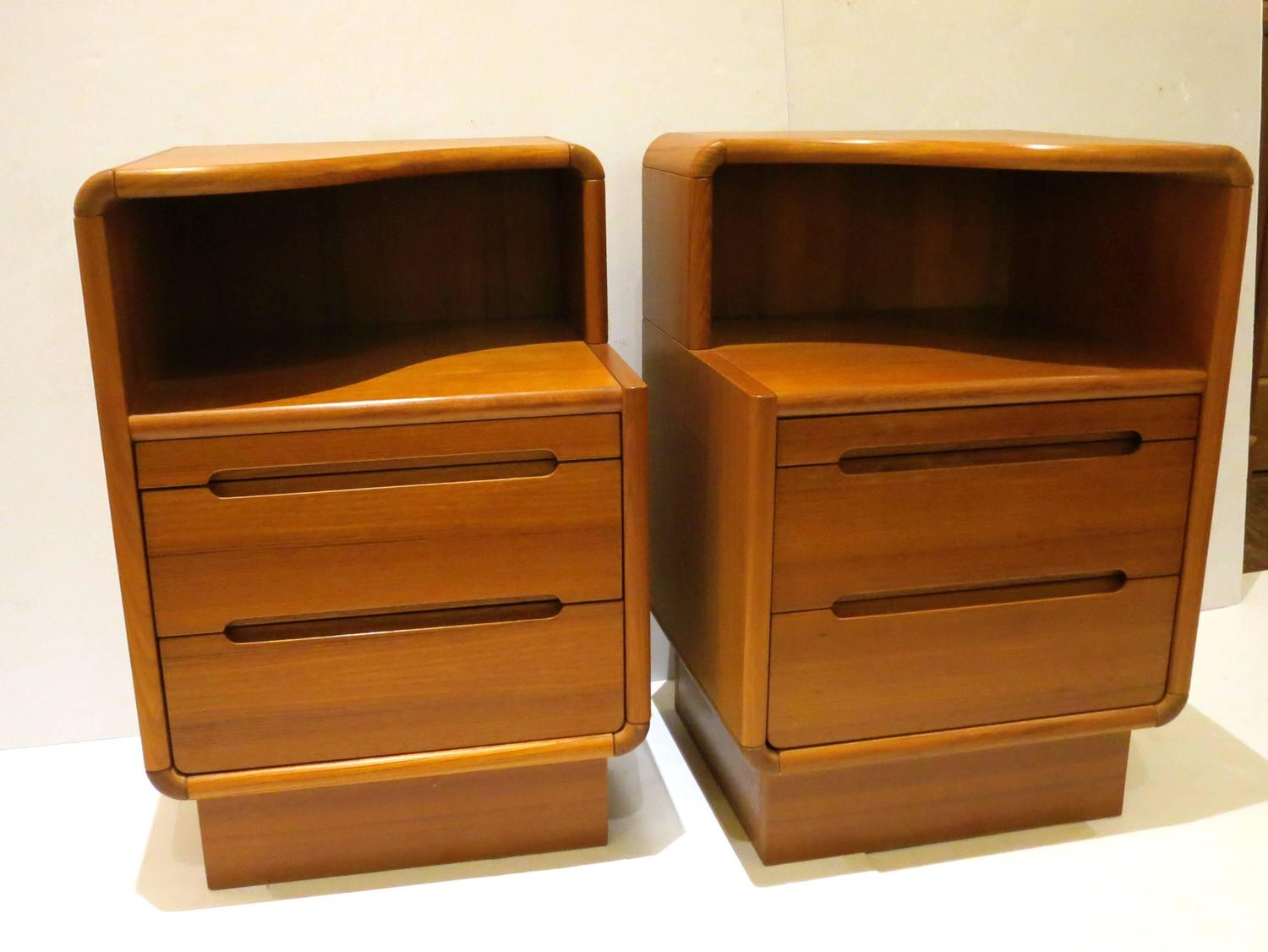Pair of Danish Modern Tall Teak Nightstands with Writing Desk For Sale at 1stdibs