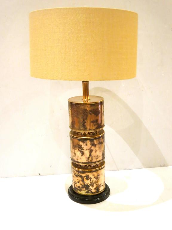 Hollywood Regency Rare Rose And Gold Brass Plated Lamp