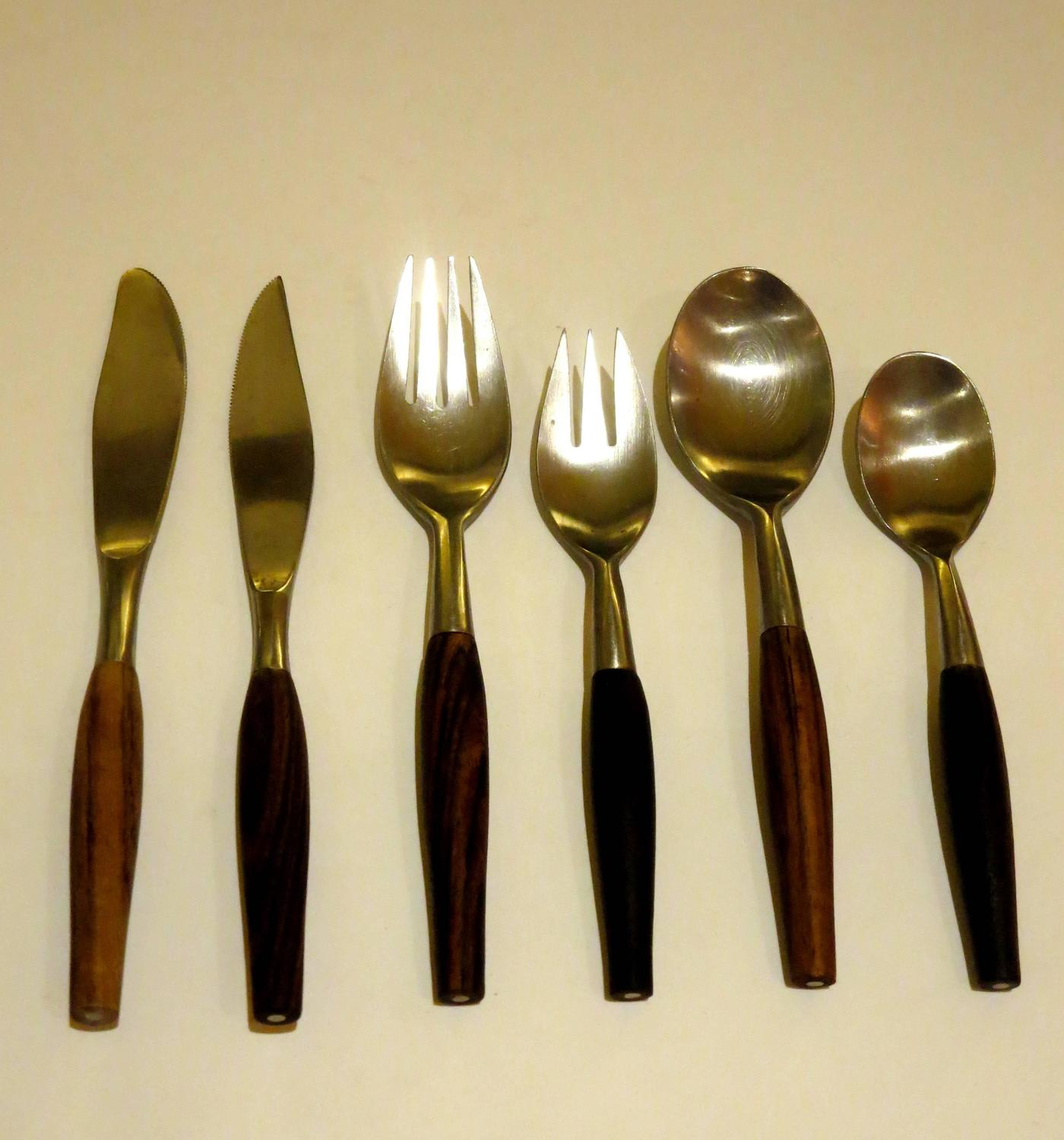 1950s danish modern stainless steel and rosewood flatware six piece place at 1stdibs - Contemporary stainless flatware ...