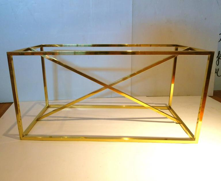Square Brass Piping Coffee Table Base With X Bar Accent For Sale 1