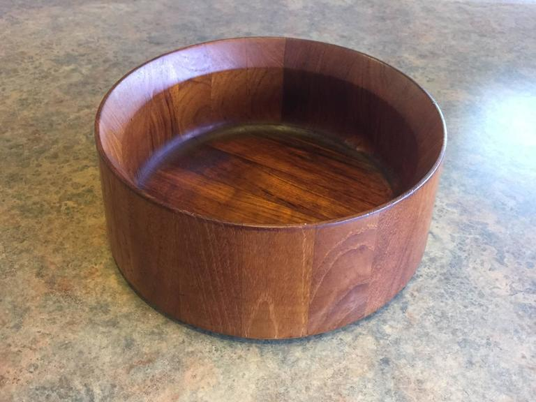 A very nice staved teak bowl by renowned Dansk designer Jens Harald Quistgaard. Made in Denmark.