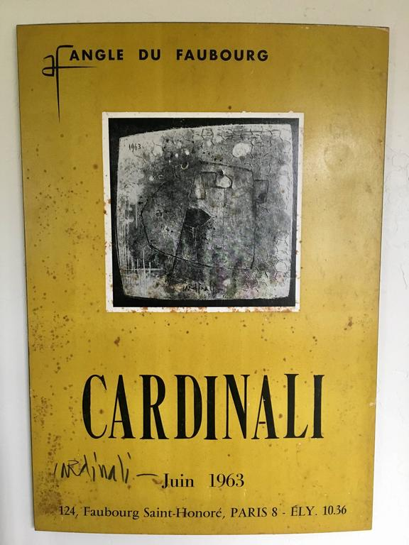 An incredible and rare piece by artist Franco Cardinali, French Italian Title Protestation Du Mardi 22, Signed and dated by the artist 1963, comes with poster exhibition signed by Him, in this exhibit he showcase with Picasso & Jean Cocteau, this