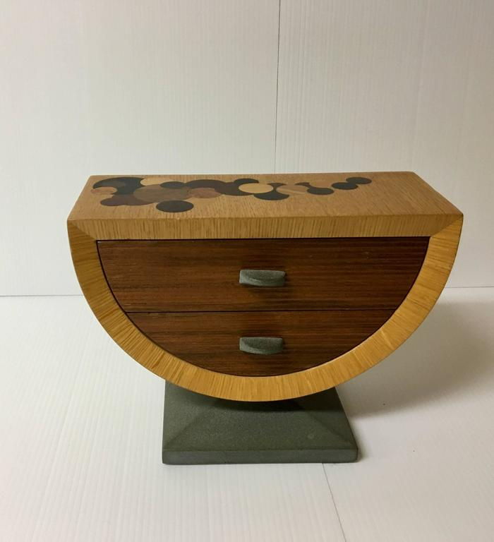 Handmade Mixed Woods And Slate Base Tabletop Jewelry Box 2