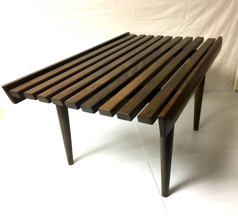 Mid Century Solid Wood Small Platform Slat Bench Or Coffee Table At 1stdibs