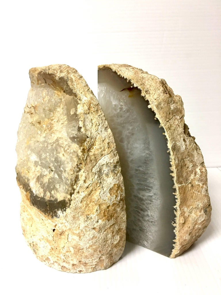 Pair of Vintage Geode Bookends In Excellent Condition For Sale In San Diego, CA