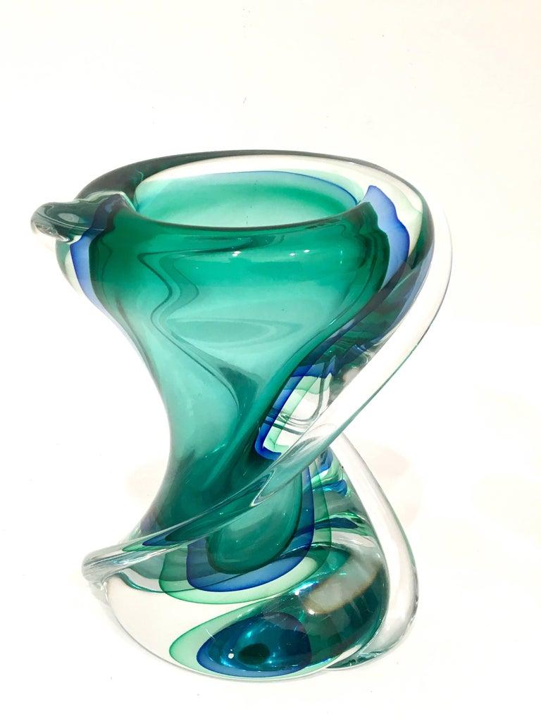 Mid-Century Modern 1950s, Italian, Luciano Gaspari, Seguso Murano Sommerso Organic Glass Vase
