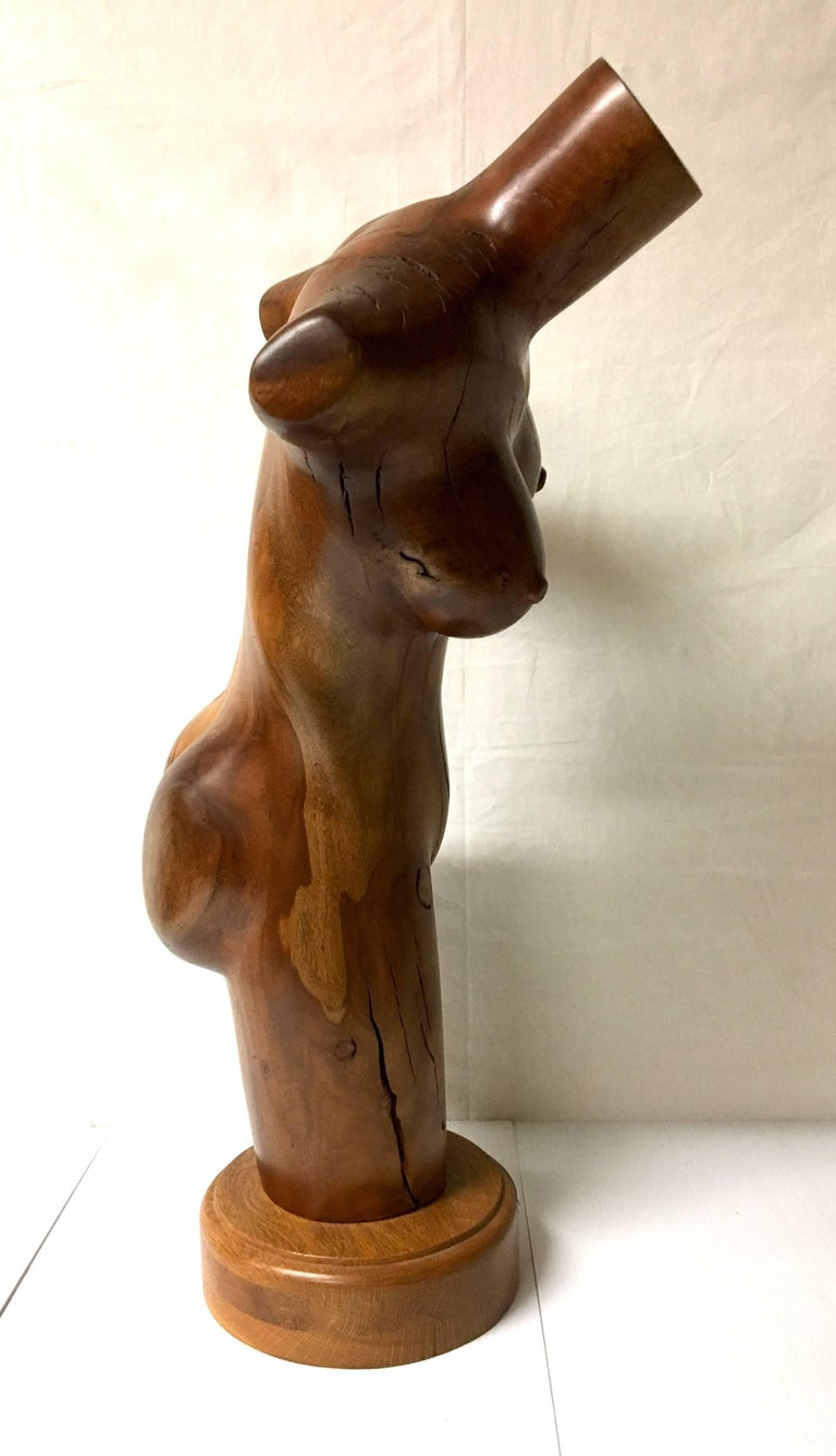 20th Century Tall Nude Female Torso Sculpture Hand-Carved in Wood by California Artist For Sale