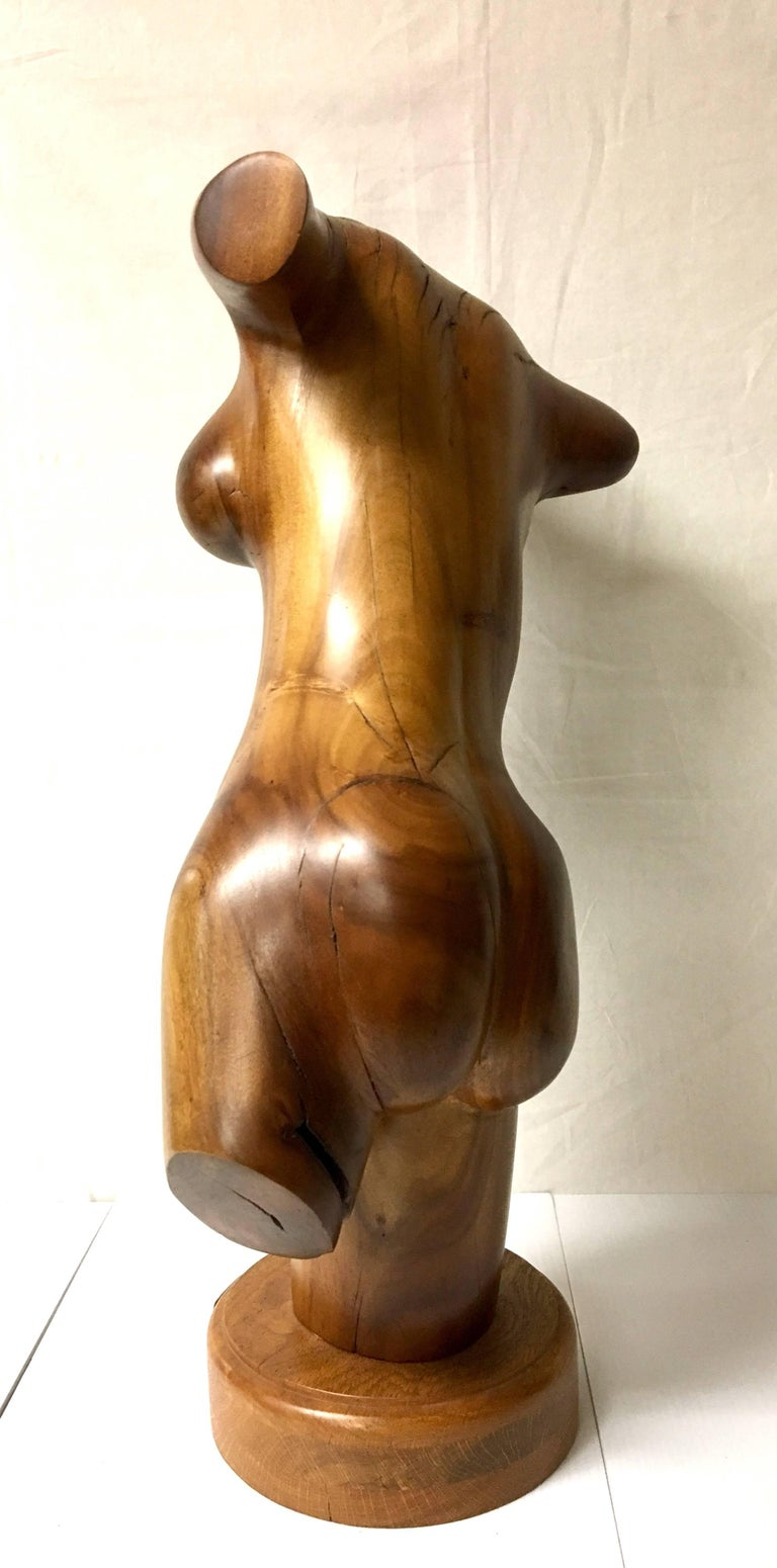 Tall Nude Female Torso Sculpture Hand-Carved in Wood by California Artist For Sale 1