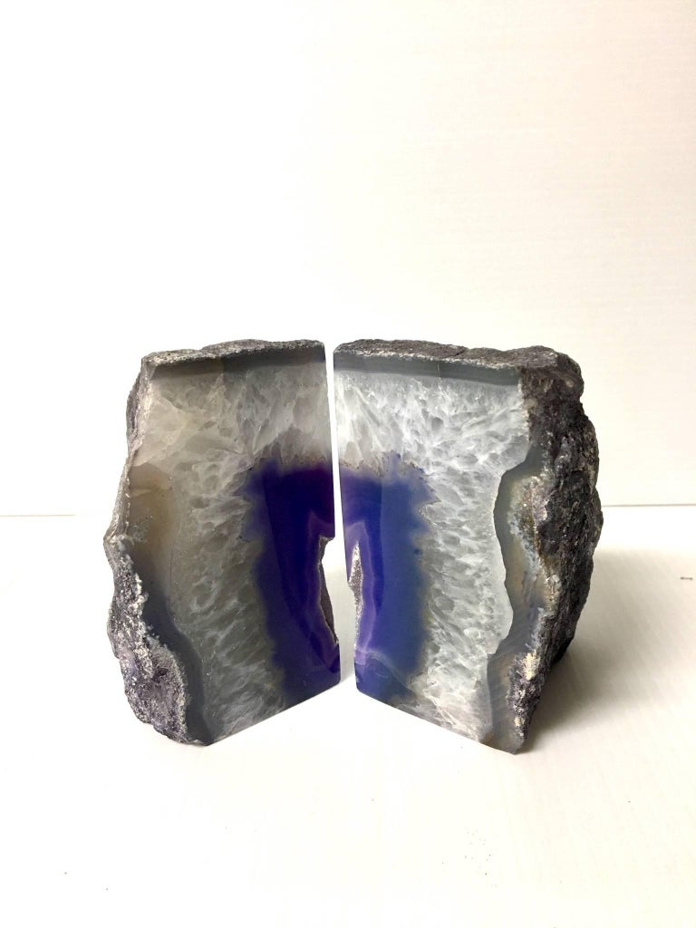Mid-Century Modern Pair of Vintage Geode Bookends For Sale