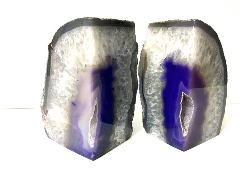 American Pair of Vintage Geode Bookends For Sale