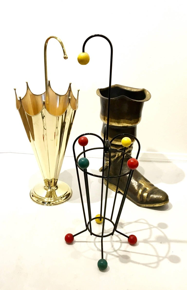 French 1950s European Solid Polished Brass Umbrella Stand For Sale