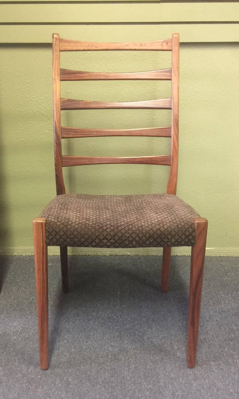 Set Of Six High Ladder Back Rosewood Dining Chairs By