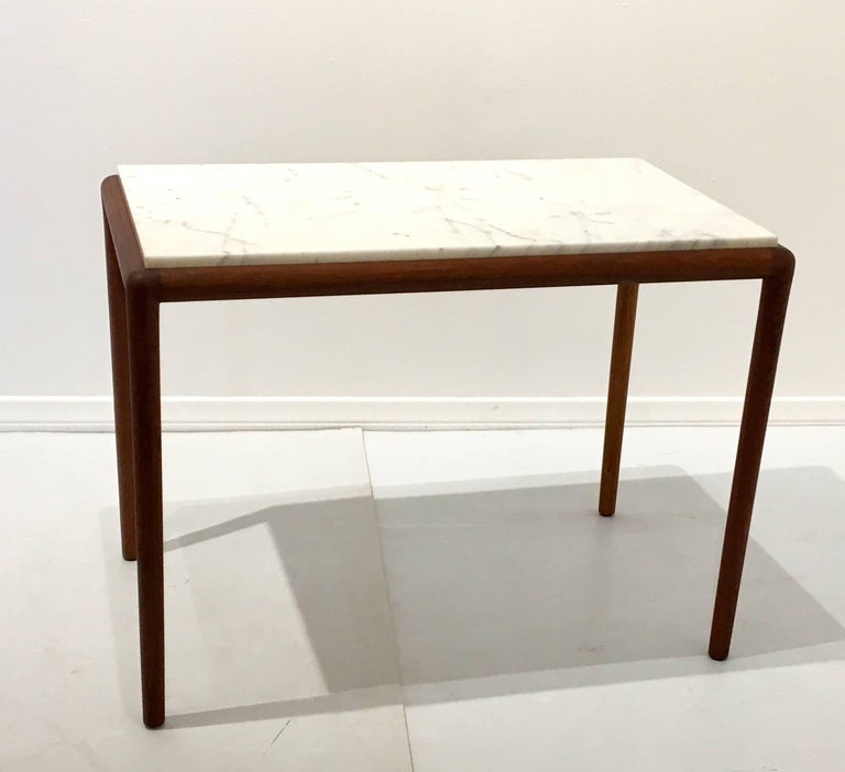 Teak Coffee Table And End Tables: Danish Modern Elegant Teak And Marble Cocktail Or End