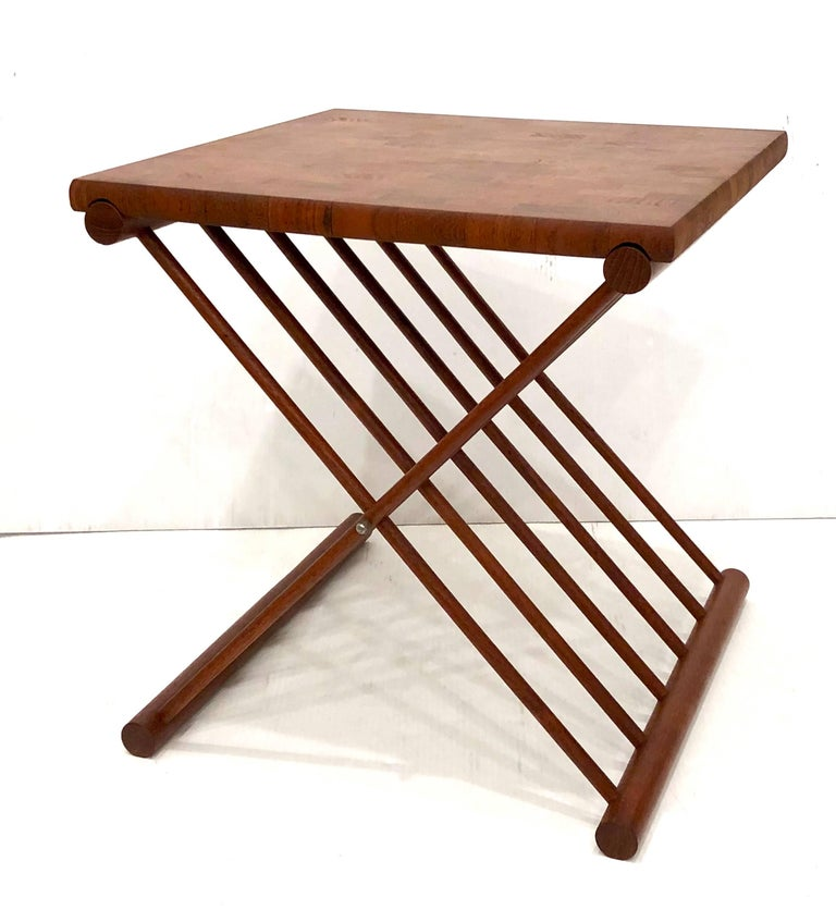 Rare And Unique Folding Campaign Style Tail Table Solid Butcher Block Removable Top