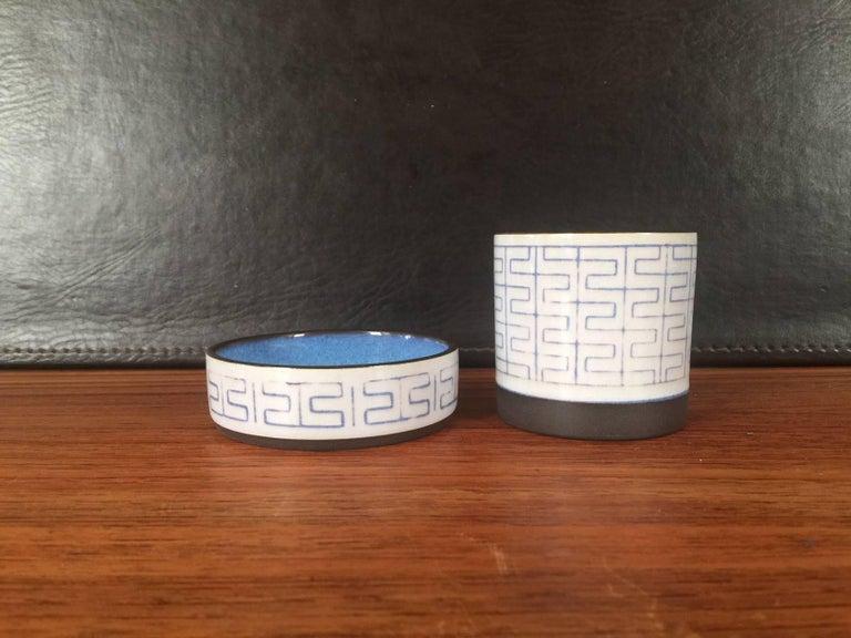 Midcentury Aluminia Thule Tray Vase by Anni Jeppesen for Royal Copenhagen For Sale 1